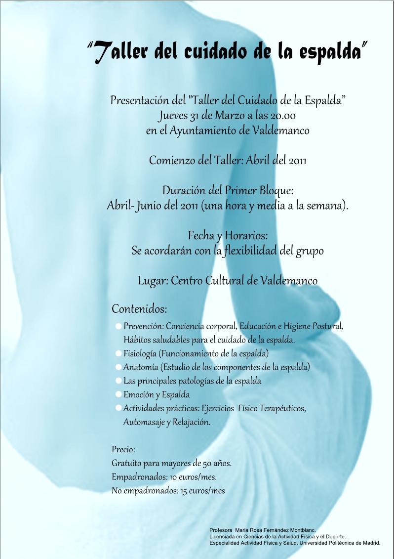 Taller del cuidado de la espalda – Ayuntamiento de Valdemanco